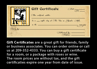 Knowles Hill Gift Certificates